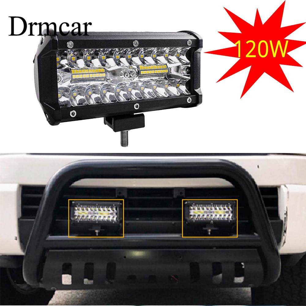 1Pcs 7 Inch 120W Combo Led Light Bars Spot Flood Beam For Work Driving Offroad Boat Car Tractor Truck 4x4 SUV ATV 12V 24V