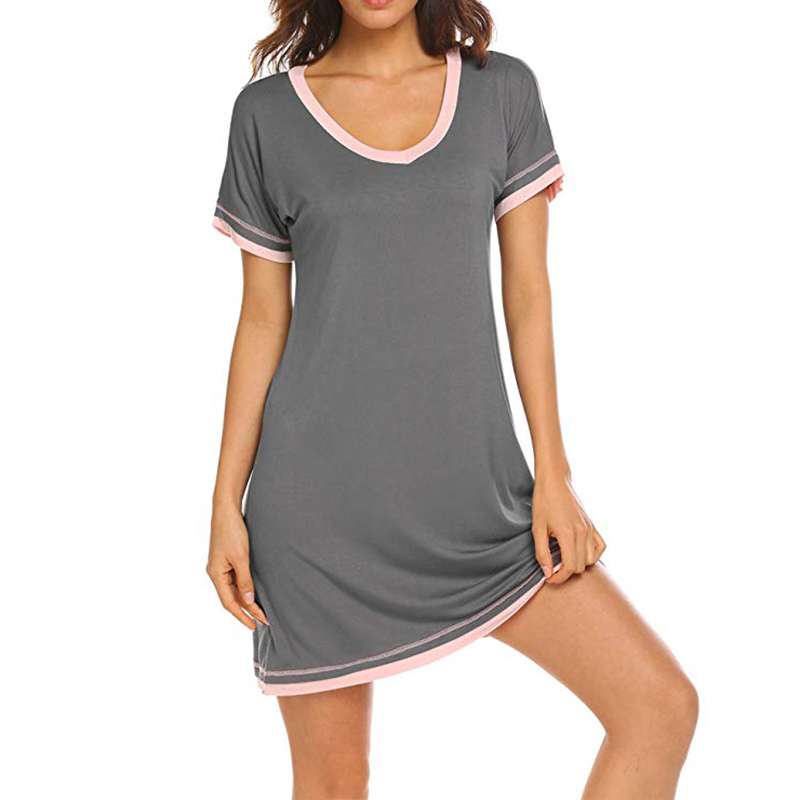 Women Sexy Sleepwear Ladies Cotton Solid Color Round Neck Short Sleeve Nightdress Lingerie Home Clothing