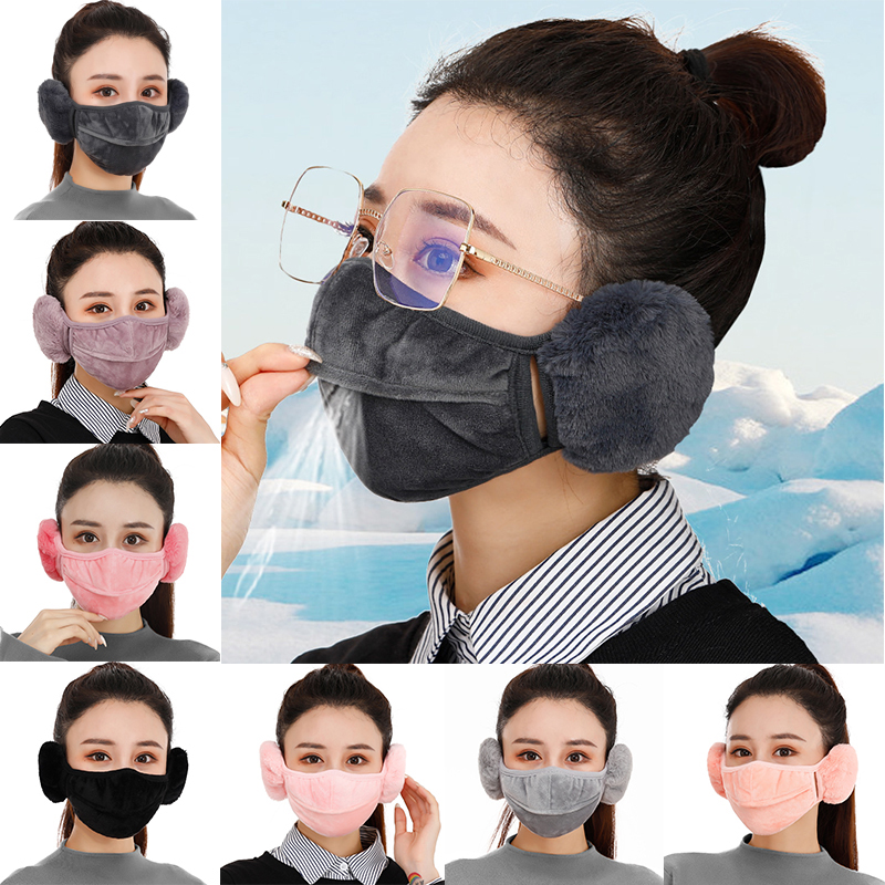 2 In 1 Pure Color Velvet Ear Protector Face Mask Winter Thick Plush Women Warm Dustproof Mask Earmuffs High Quality Accessories