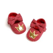 Infant Newborn Baby Girls Crib Shoes Flats Solid Bowknot Soft Sole Crown Princess Dress Shoes No-Slip Crib Shoes