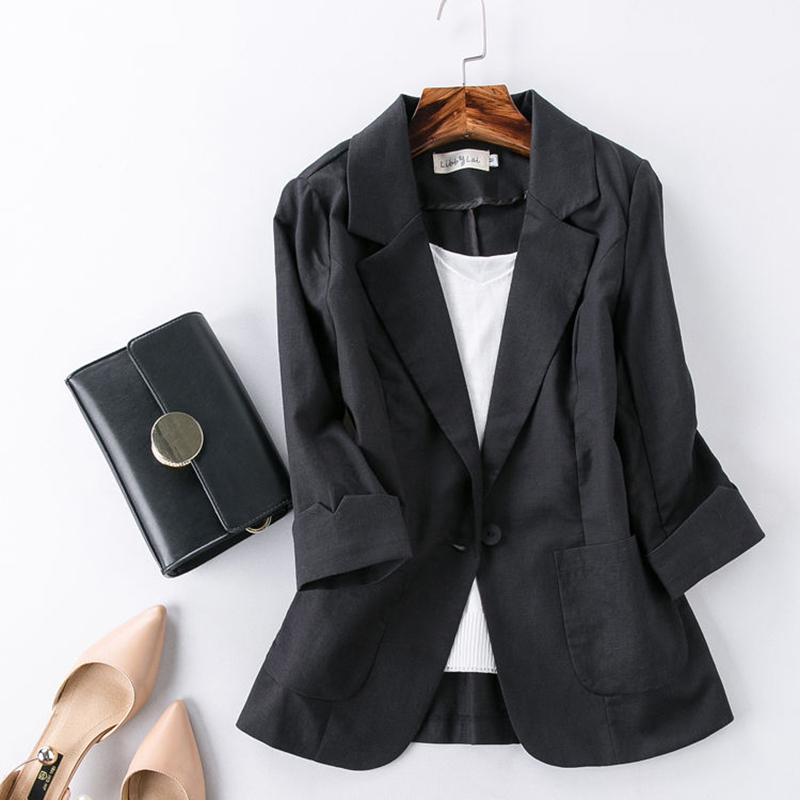 2020 Summer Women Blazer Thin Coat Cotton And Linen Suit Women's Jacket Fashion Linen Suit 3/4 Sleeve Women Jacket Ladies