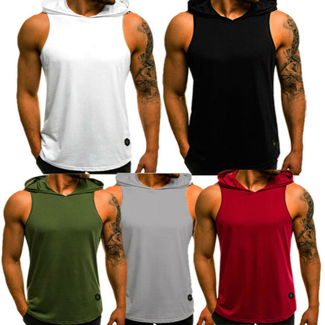 hirigin 2020 Men's Cotton Sleeveless Hoodie Bodybuilding Workout Tank Tops Muscle Fitness Shirts Male Jackets Top 8