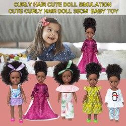 Черные африканские куклы 35 см Kawaii черные детские милые кудрявые куклы Черные виниловые детские игрушки Новогодний подарок на день рождения