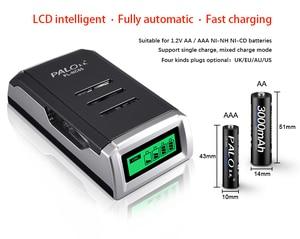 Image 5 - 100% оригинальное умное зарядное устройство PALO с 4 слотами и ЖК дисплеем для AA AAA NiCd NiMh аккумуляторных батарей Быстрая зарядка