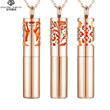 Rose Gold Color Perfume Bottle Necklace Essential Oil Diffuser Locket Aromatherapy Pendant Hollow Diffuser Storage Jewelry(China)