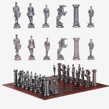 Metal Medieval Knight Theme Chess Luxury Knight Table Game Entertainment Toy Set Gift Sports Collectibles