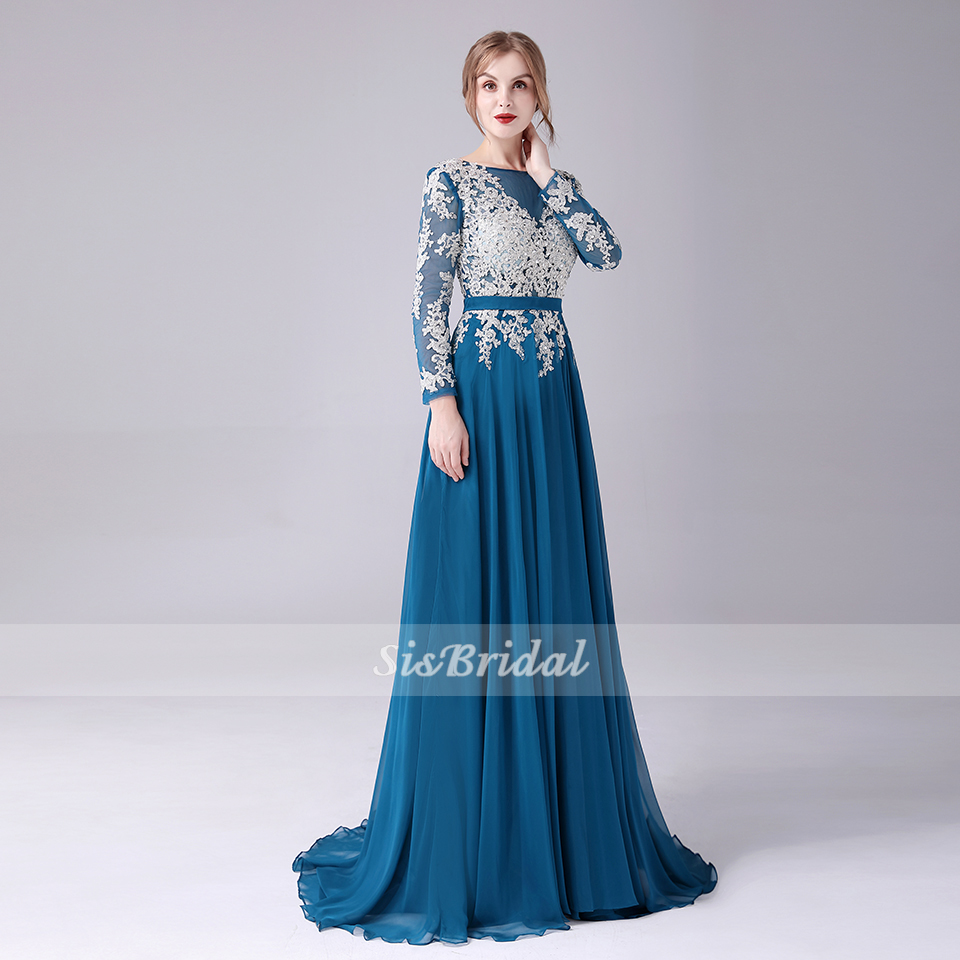 A-line V-neck Sweep / Brush Train Chiffon Lace Evening Dress With Appliques