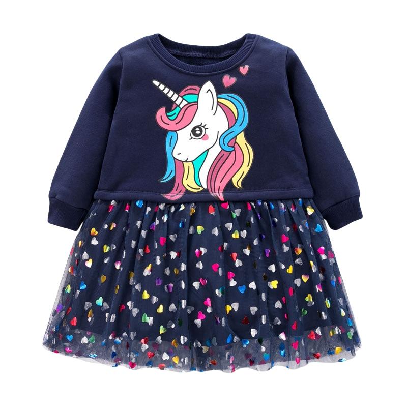 Little Maven Brand Baby Girls Clothes Winter Black Unicorn Cotton Print Toddler Girl Christmas Dresses for Kids 2-7 Years S0908 1