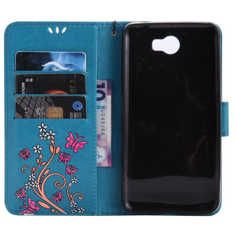 Huawei Y3 Y5 Y6/Zweiten Generation Kreative Schimmernde Pulver Farbige Zeichnung Schmetterling Geprägte Leder Telefon Abdeckung Telefon Fall