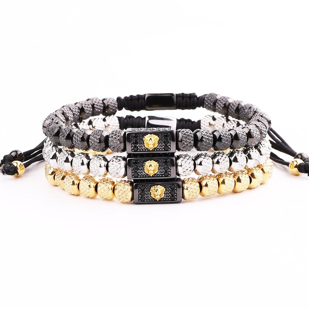JARAVVI New Cute Design Stainless Steel Beads CZ Gold Lion Charm Macrame Bracelet Men