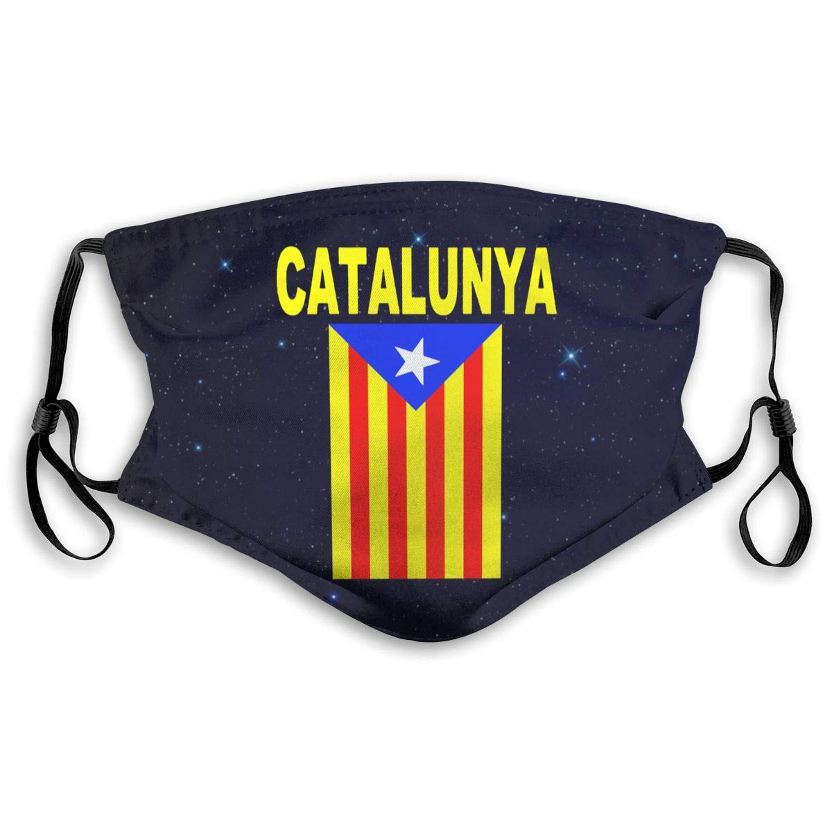 Flag Catalonia Mouth Cover Mask With PM2.5 Filters 5 Layers Of Protection For Unisex Black