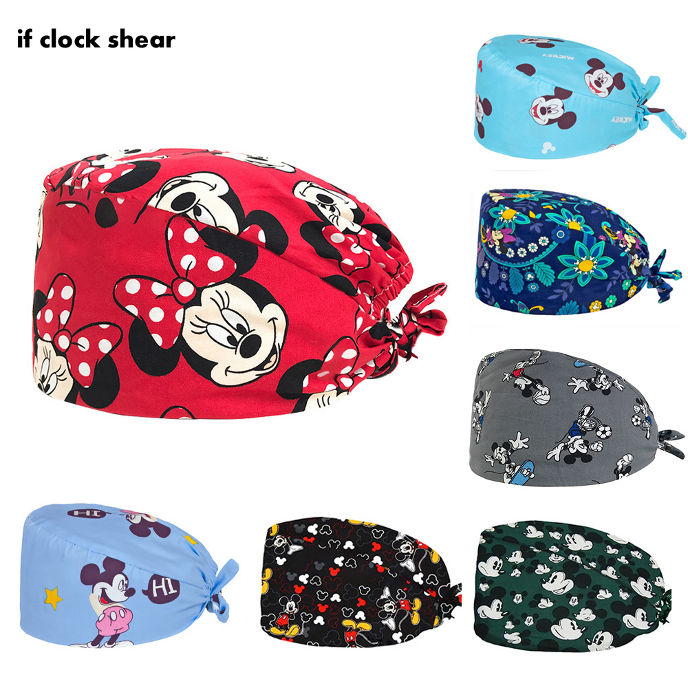 Animal Printing Cap Cotton Pharmacy Medical Surgical Cap Pet Hospital Care Cap Operating Room Doctor Nurse Working Hat Wholesale