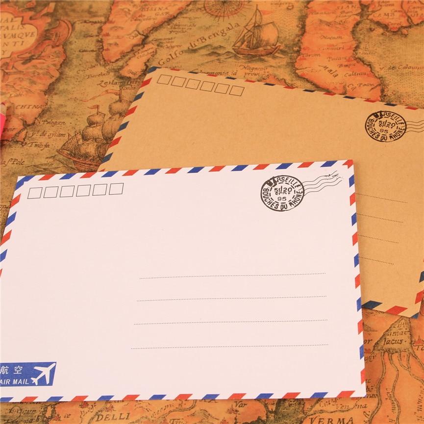 10pcs/pack 17.5x12.5cm Post Paper Envelopes  White Kraft Color Air Mail Letter Envelope