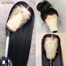 Mobok perruque de cheveux naturels brésilien, Frontal à 360, Remy, lisse, 13x4, pré emballé, Lace Front Wig