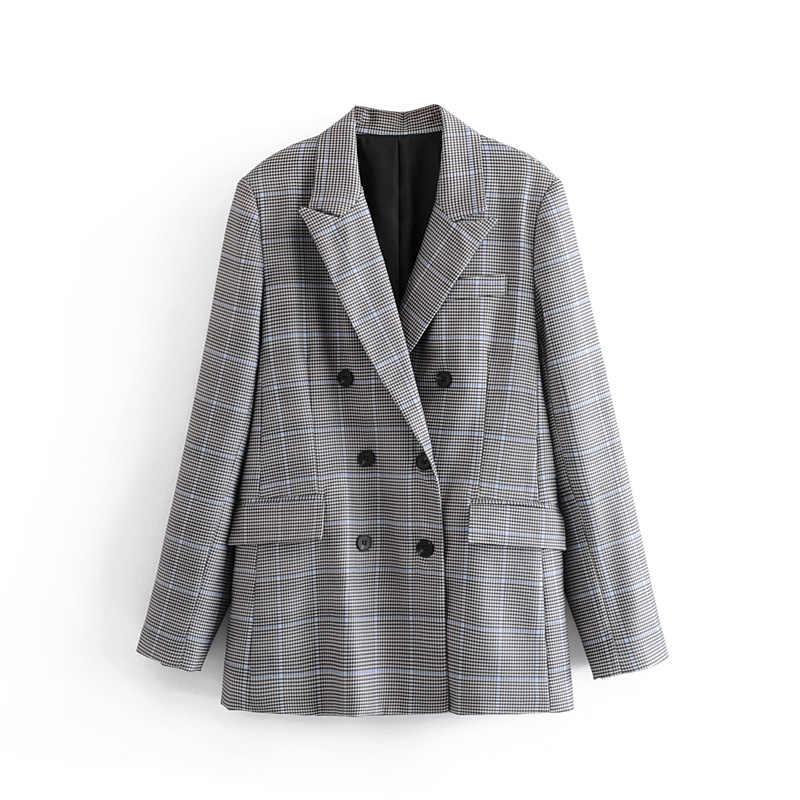 スター firefly エレガントなオフィスブレザー女性 2019 ソフトウールのチェック柄ダブルブレスト正式なブレザービジネス女性作業服