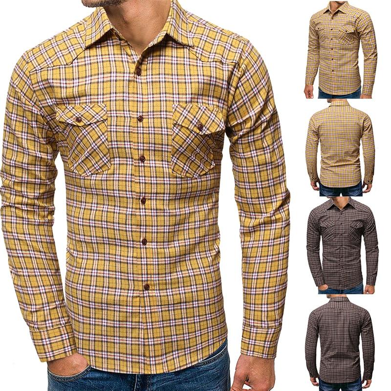 Brand Plaid Shirt Men 2019 Korean Fashion Double Pocket Long Sleeve Casual Shirts IT Man Classic Wild Cotton Hip Hop Streetwear