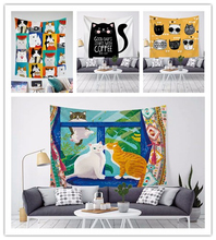 Cute Cartoon Print Tapestry Wall hanging Lovely Katty Wall Cloth Tapestry Wall Carpet For Kids bedroom Home Decor butterfly print home decor wall hanging tapestry