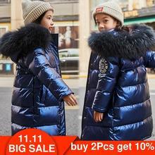 רוסיה חליפת שלג 2020 ילדים חורף למטה מעיל עבור בנות בגדים עמיד למים חיצוני ברדס מעיל ילדים אמיתי parka פרווה בגדים