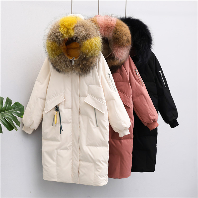 2019 Winter New real scorpion big fur collar Down jacket Women Long section over the knee Korean Loose Down Coat tide W156