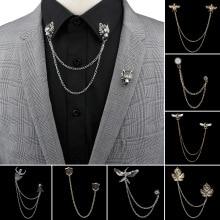Brooch Dragon Chain Suit Badge Shirt Neckware-Accessories Wedding-Dress Collar Tassel