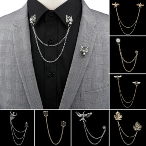 Man Suit Shirt Collar Tassel Chain Lapel Pin Brooch Dragon Badge Retro Pins Wedding Dress Party Dance Neckware Accessories