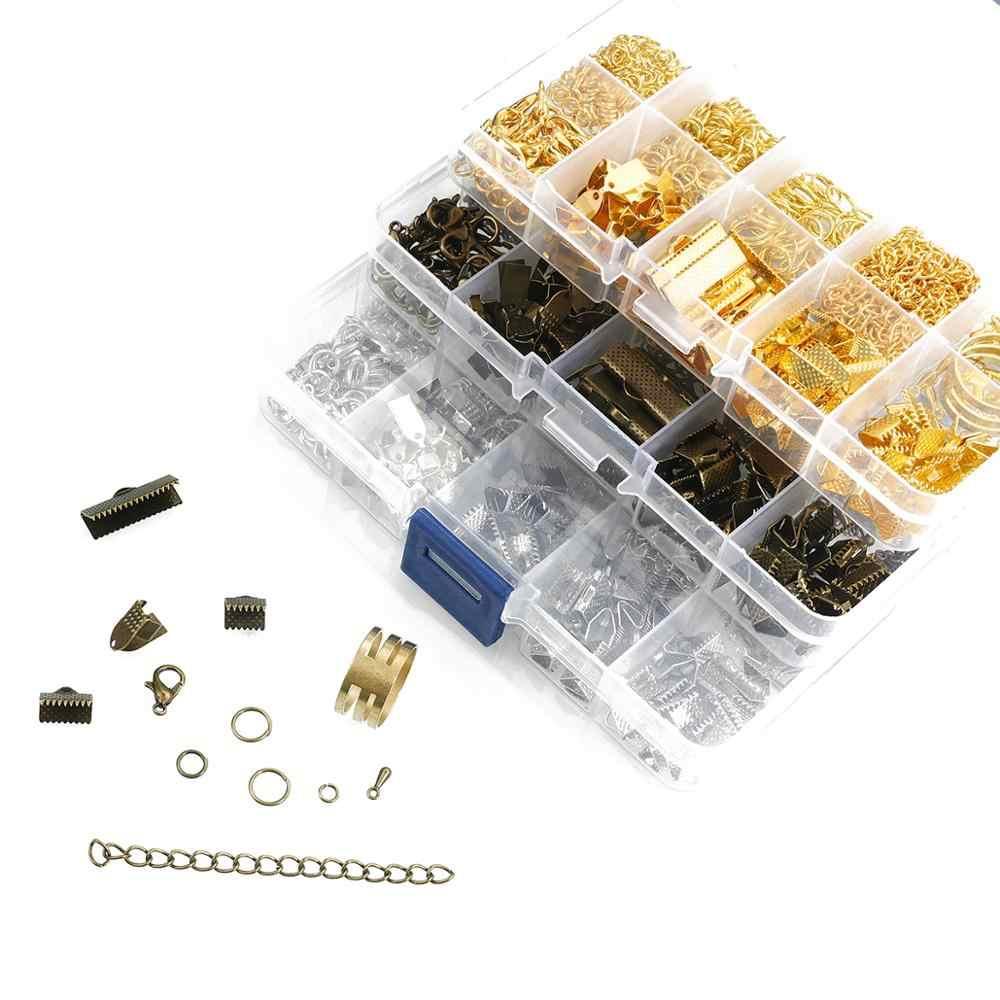 Bijoux accessoires Kit pièces en métal anneau/fermoir à homard/chaîne/ensemble de broches pour la fabrication de bijoux bricolage perles Bracelet collier boucle d'oreille