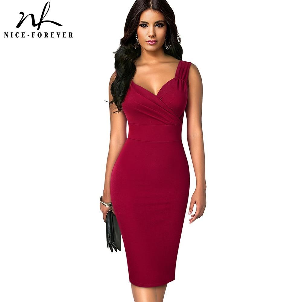 Nice forever Summer Women Solid Color Sexy Deep V Elegant Dresses Cocktail