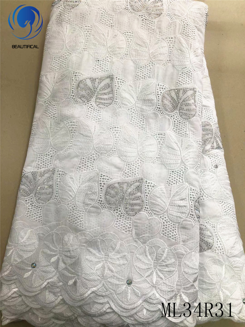 BEAUTIFICAL Embroidery Cotton fabrics White voile lace fabrics Top sale nigerian dry cotton lace fabric for dress ML34R31