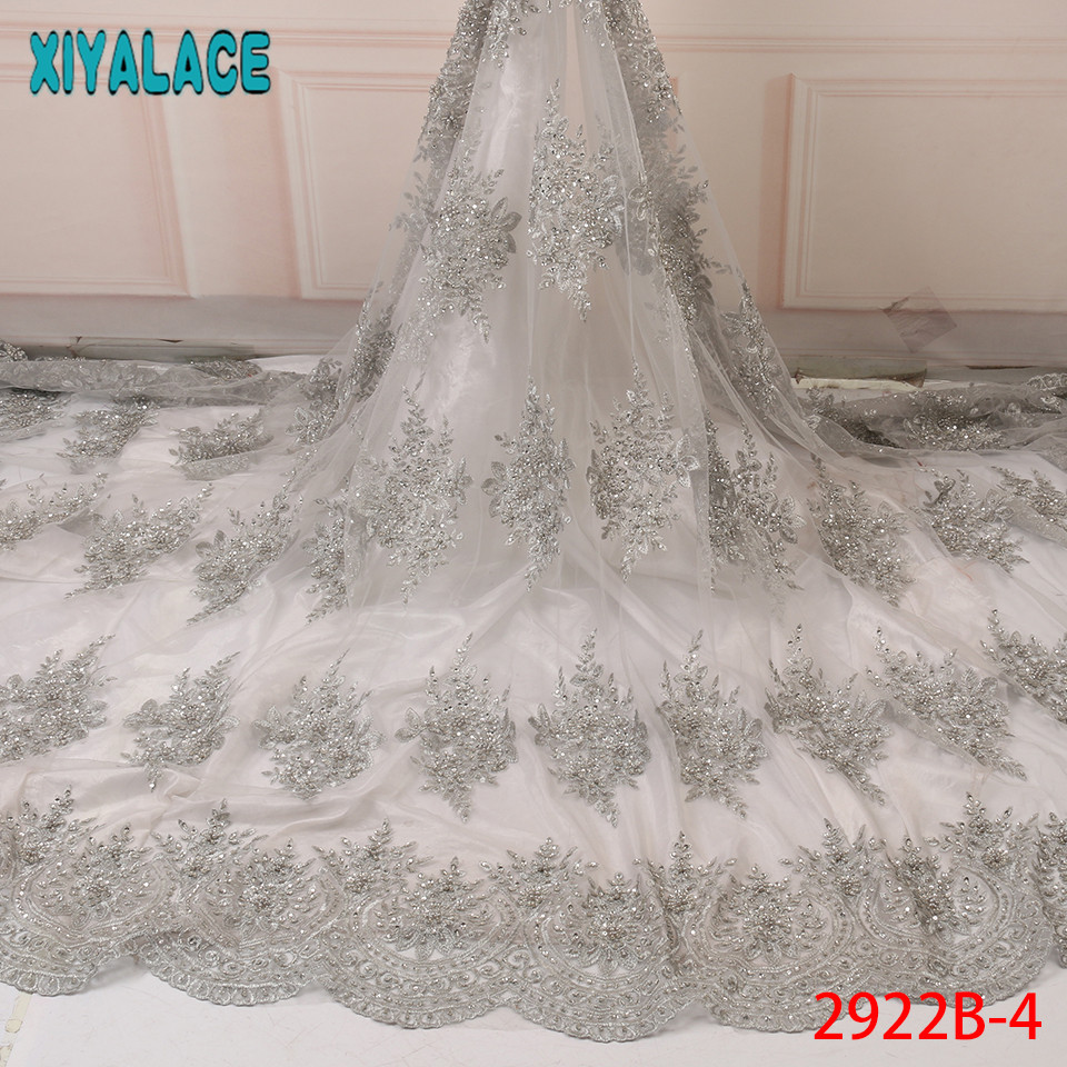 Hot Selling Beaded Lace Fabric,African Bridal Fabric,2019 Lace Fabric With Beads For Wedding Party KS2922B-4