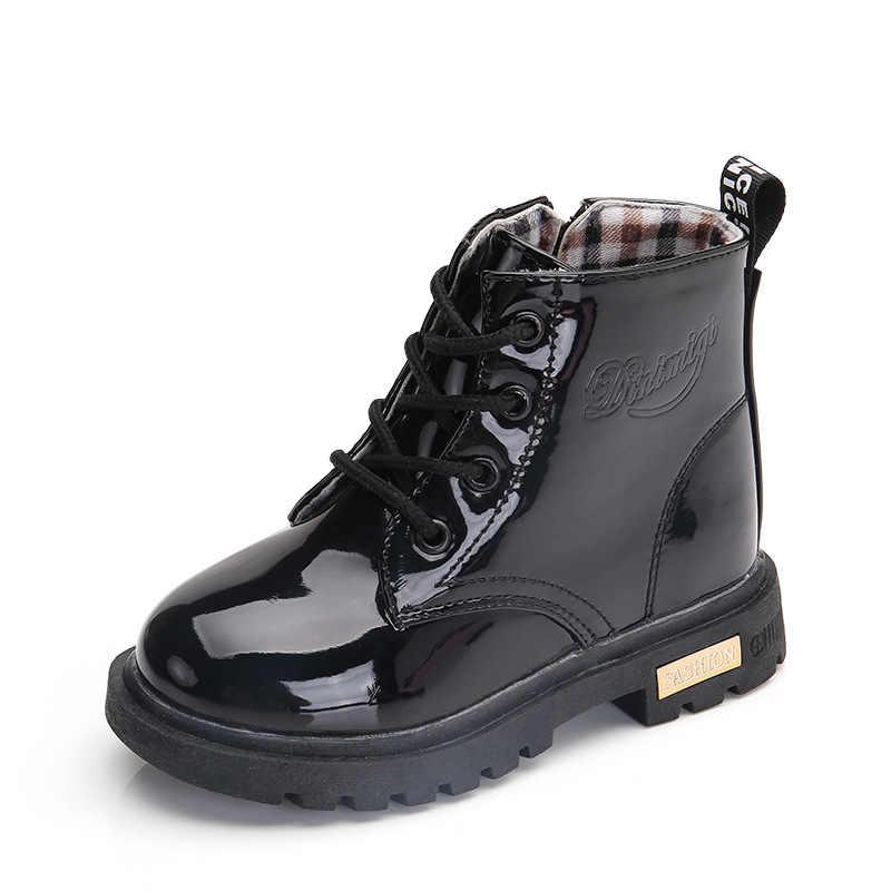 NIEUWE 2019 Meisjes Leren Laarzen Jongens Schoenen Lente Herfst PU Leer Kinderen Laarzen Mode Peuter Kinderen Laarzen Warme Winter Laarzen
