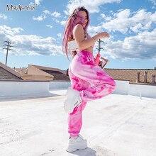 Mnealways18 Pink Fashion Tie Dye Pants 2020 Loose Swearpants Women Hare