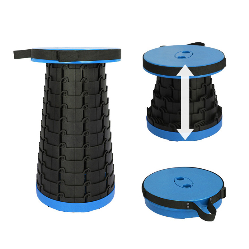 Portable Folding Plastic Stool Adjustable Round Stool Camping Fishing Telescopic Seat Outdoor Portable Plastic Folding Stool