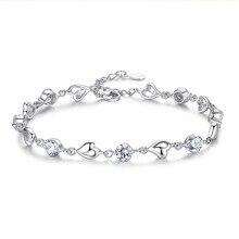 925-Silver Bracelet Jewelry Charm Zircon Woman New Sweet Heart for Gift