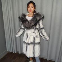 Пальто из натурального меха lexus шуба кролика рекс лисы 100