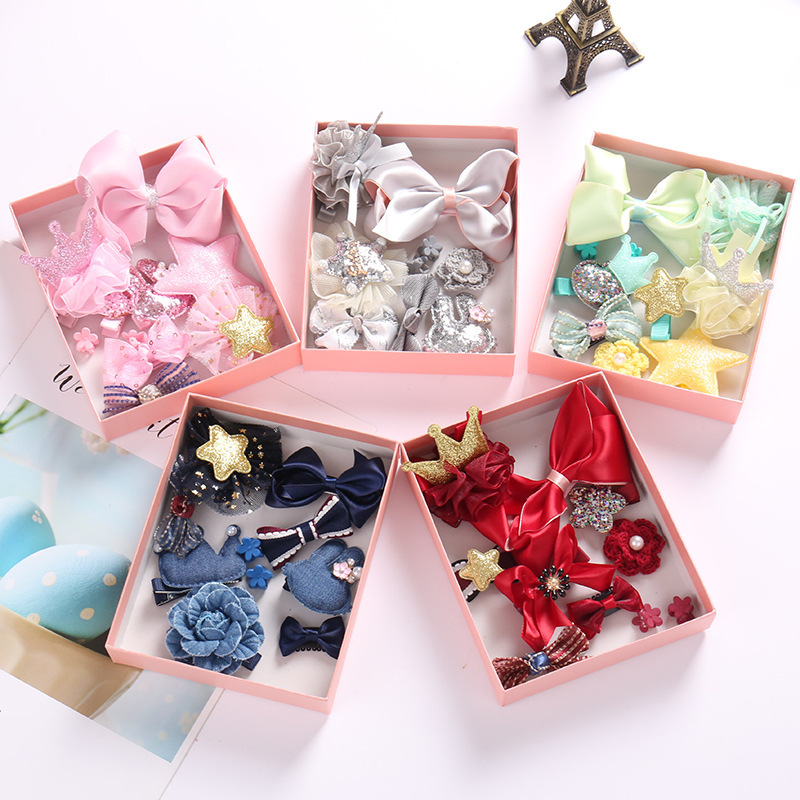 10 Pcs/Gift Box Hair Clips Set Children HairClip Band Cartoon Bows Crown Hair Clips Girls Cute Baby Girls Hairpins Accessories