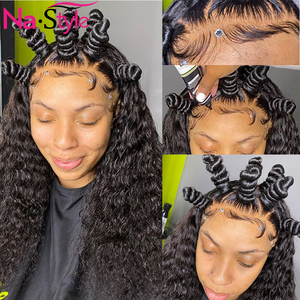 Image 2 - 13x4 Lace Fronl Human Hair Wigs Fake Scalp Preplucked Bleached Knots Curly Human Hair Wigs Long Natural Peruvian Hair 150% Remy