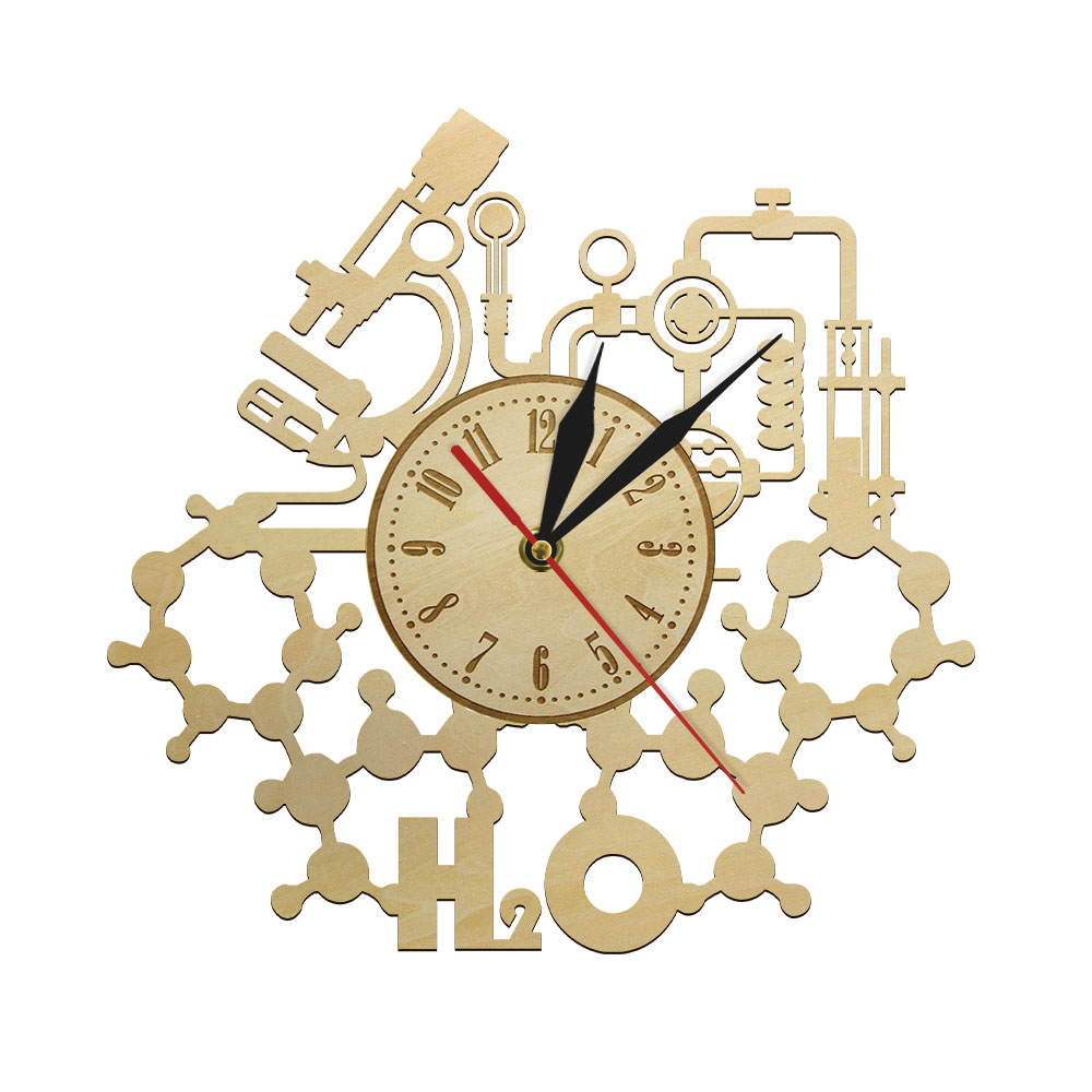 H2O Chemical Experiment Wooden Wall Clock School Classroom Chemistry Rustic Science Wall Art Decorative Wall Watch Teachers Gift