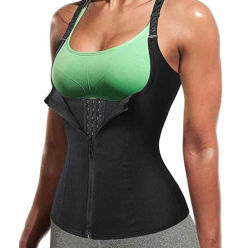 Las mujeres corsés hombro ajustable de tres pechos cremallera corsé Abdomen cinturones deportes Fitness entrenador de la cintura