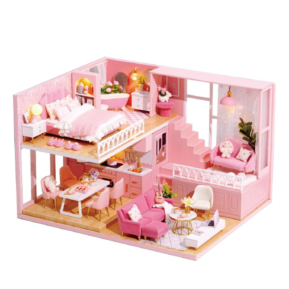 DIY Pink Attic Miniature Wooden Dollhouse Led Kits Toy Gift for Adults and Teens