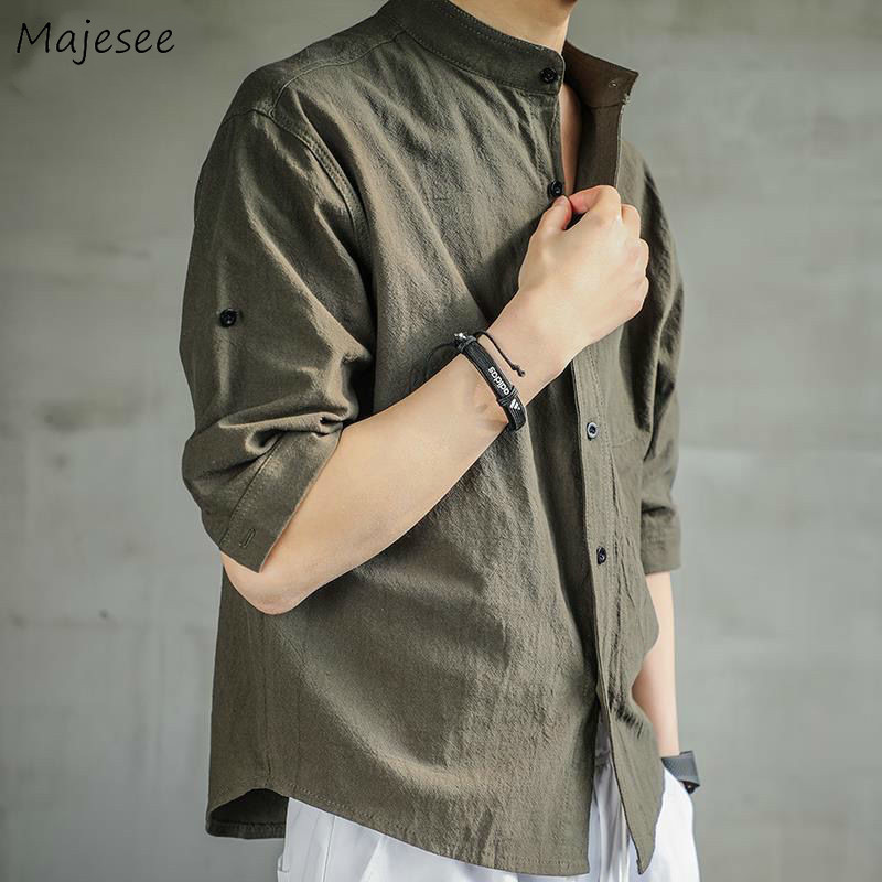 Men Shirts Solid Soft Breathable Stand Collar Half-length Sleeve Plus Size 5XL Loose Casual Simple Mens Tops Fashion Linen Chic