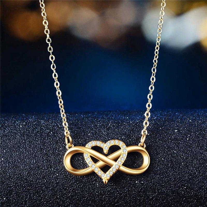 Модное романтическое розовое золото серебро Цвет Бесконечная любовь ожерелье классическое серебро символ бесконечности и любовь, сердце, ...