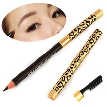 1Pc Durable Brush Comb Eyebrow Pencil Waterproof Leopard Tube Eyebrow Makeup Golden Long-Lasting Waterproof Eyeliner