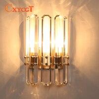 Новые современные хрустальные Настенные светильники lustre wandlampen AC110V 220В  Золотая настенная лампа для спальни  гостиной  освещения