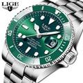 LIGE Top Marke Luxus Mode Taucher Uhr Männer 30ATM Wasserdicht Datum Uhr Sport Uhren Herren Quarz Armbanduhr Relogio Masculino