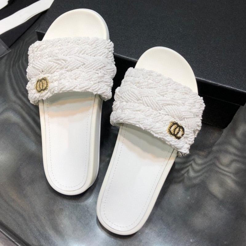 Women Summer Slppers Luxury Design Preal Women Mules Comfortable Slip On Beach Sandals Slids Party Dress Shoes Outlet Slids 42