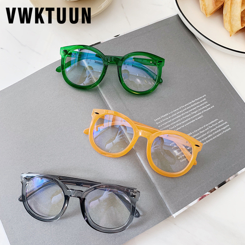 VWKTUUN Glasses Frame Round Computer Eyeglasses Arrow Rivet Eye Glasses Frames For Men Women Candy Color Optical Glasses Frame