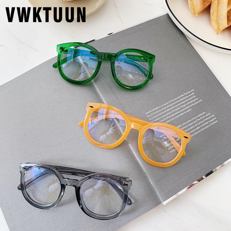 VWKTUUN Glasses Frame Round Computer Eyeglasses Arrow Rivet Eye Glasses Frames For Men Women Candy Color Optical Glasses Frame