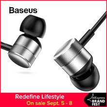 Baseus Metal Bass Sound Music Earphone for Phone In-Ear Earphone Fone De Ouvido for iPhone iPod Samsung Fidelity Stereo Headset baseus wire in ear earphone for mobile phone music metal heavy bass sound quality headset call microphone fone de ouvido
