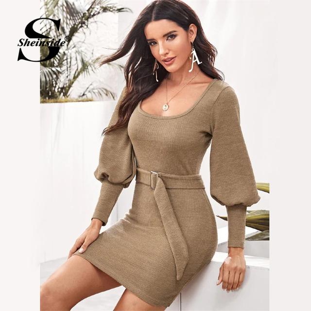 Sheinside Khaki Casual Scoop Neck Sweater Dress Women