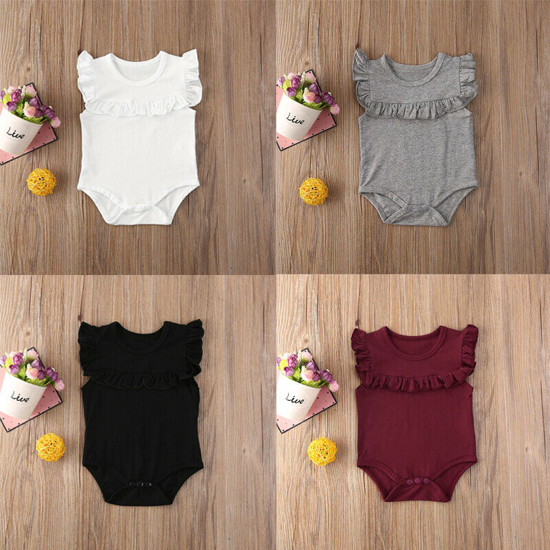 Newborn Baby Girl Summer Clothes Ruffle  Playsuit Jumpsuit Outfit